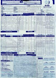 Περιστέρι 6 - 8 ΑΕΚ (φύλλο αγώνος)
