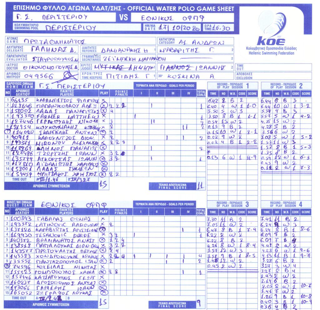 Περιστέρι 11 - 9 Εθνικός (φύλλο αγώνος)