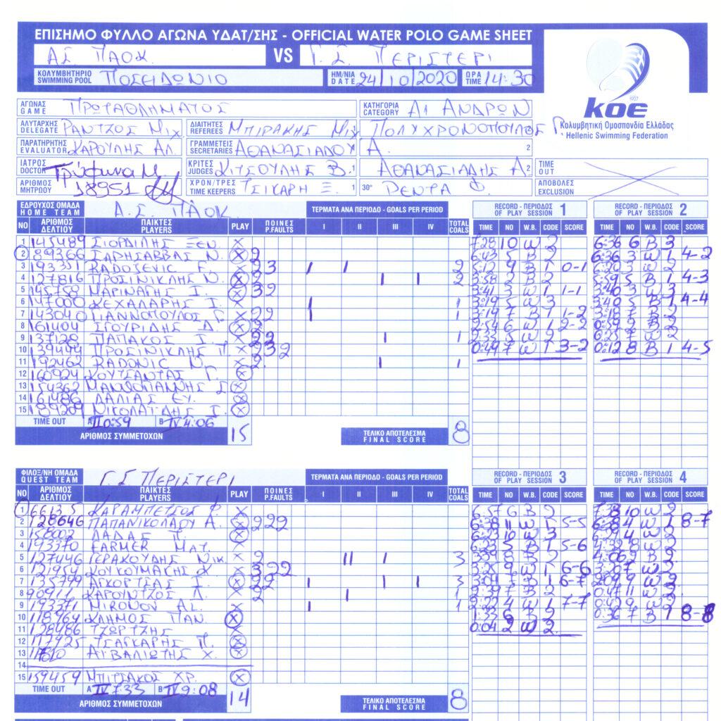 ΠΑΟΚ 8 - 8 Περιστέρι (φύλλο αγώνος)