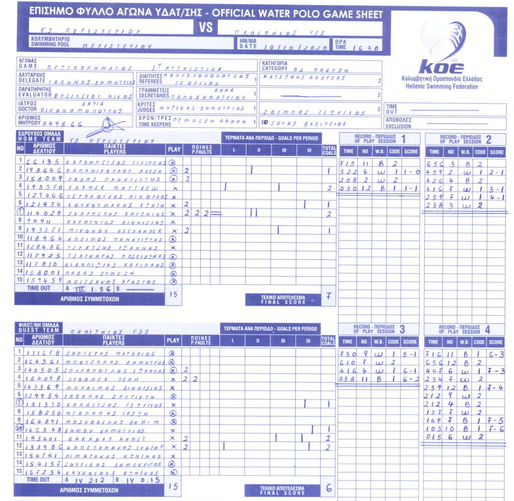 Περιστέρι 7 - 6 Πανιώνιος (φύλλο αγώνος)